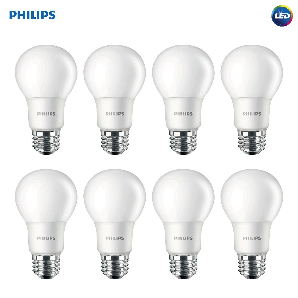 Philips LED Non-Dimmable A19 Frosted Light Bulb: 1500-Lumen, 5000-Kelvin, 14-Watt (100-Watt Equivalent), E26 Base, Daylight, 8-Pack