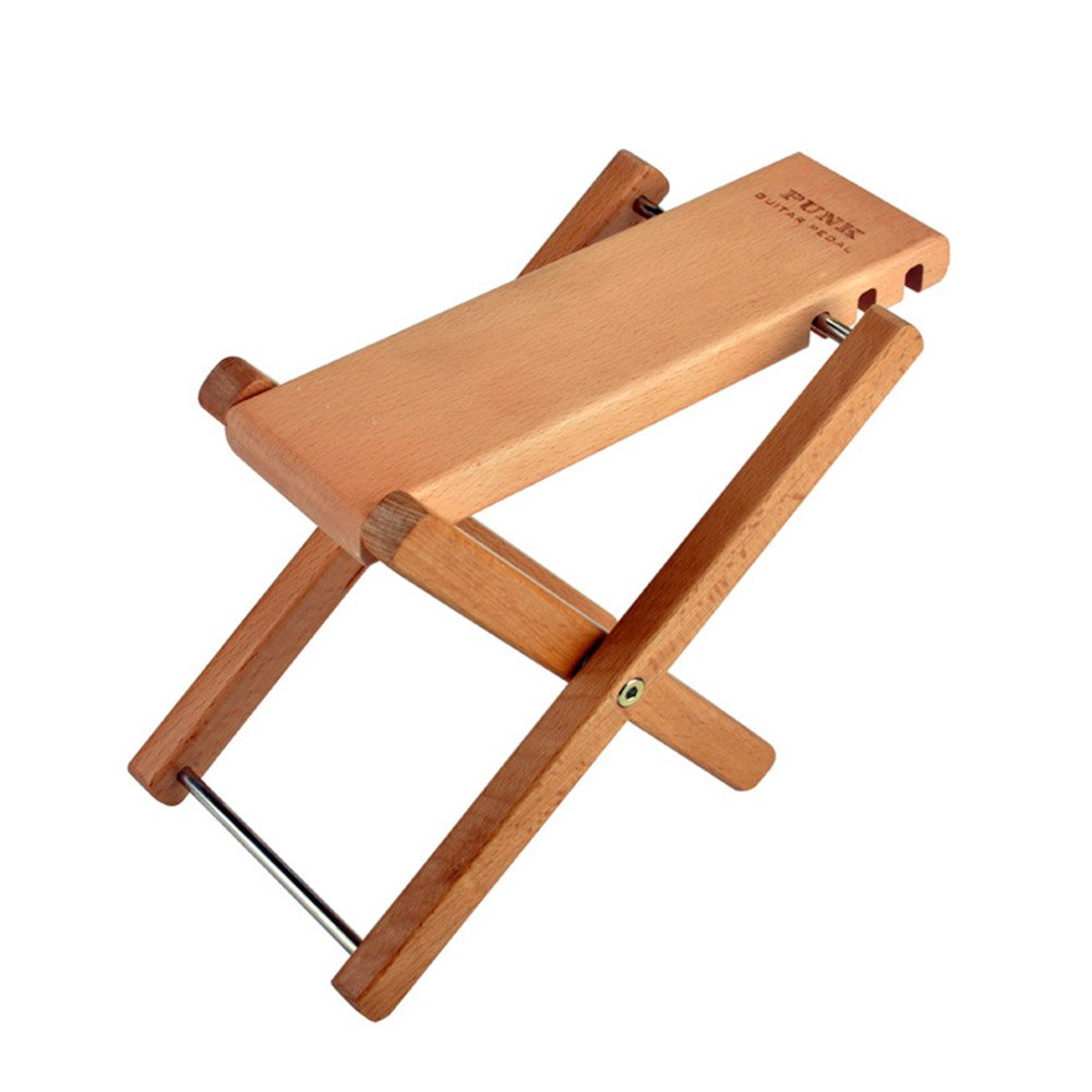 Guitar Foot Rest, Jian Ya Na Solid Well-crafted Wooden Guitar Footstool Foot Rest with 3 Adjustable Height Levels for Guitar (Mahogany color)