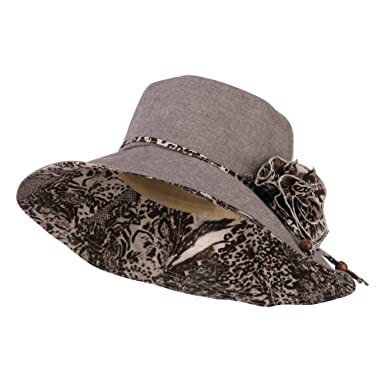 5ac1859e1d5 Jeanne Simmons Woman s Polyester Flower Accent Bucket Hat - Brown Cream OSFM