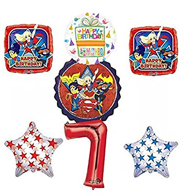 Mayflower Products DC Super Hero Girls 7th Birthday Party Supplies and Balloon Decorations