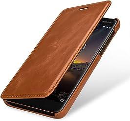 StilGut Book Type, Housse en Cuir pour Nokia 6.1. Etui de Protection en Cuir véritable pour Nokia 6.1 à Ouverture latérale, Cognac
