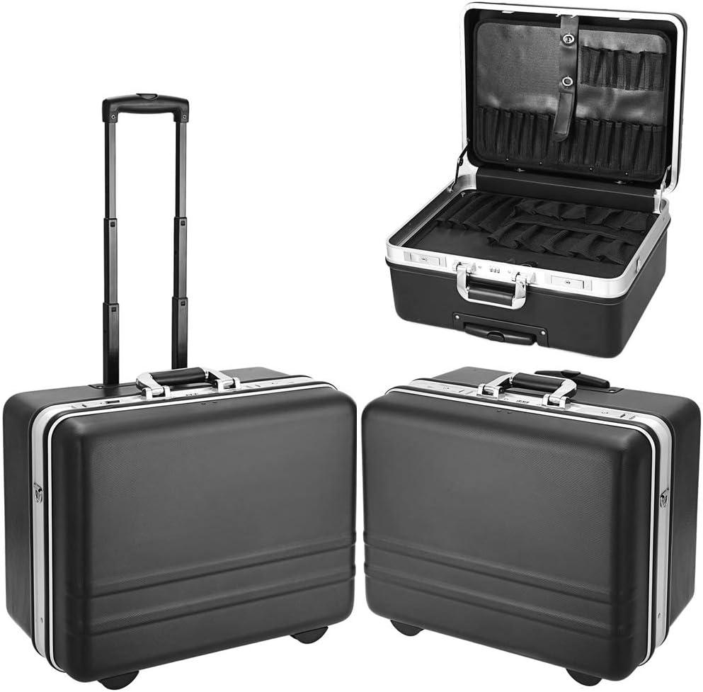 Meditool Caja de herramientas con ruedas,51 x 40 x 28cm,Bloqueo de contraseña,compartimiento ajustable,Maleta para herramientas con una correa de transporte ajustable
