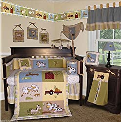 SISI Baby Boy Boutique - On the Farm 14 PCS Crib Bedding Including Lamp Shade
