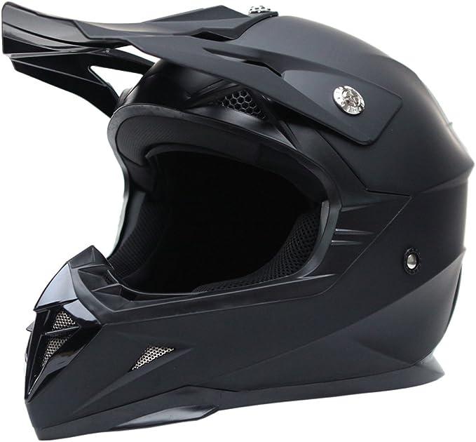 Casco Motocross Eduro ECE Homologado YEMA YM-915 Casco de Moto Cross Integral para Mujer Hombre Adultos-Negro-M