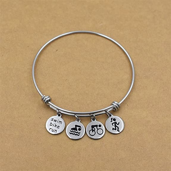 Stainless Steel Triathlon Swim Bike Run Charm Bangle Bracelet