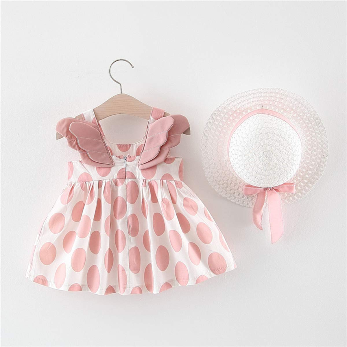 2Pcs Toddler Baby Girl Kids Summer Sleeveless Wings Back Polka Dot Strap Sundress + Sun Hat Clothes Set
