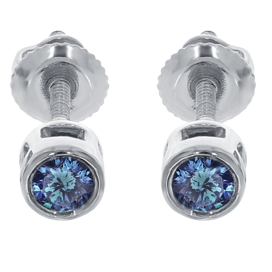 Prism Jewel 0.18Ct /& 0.25 Ct Blue Diamond Bezel Set Solitaire Screw Back Stud Earrings Crafted In 14k Gold