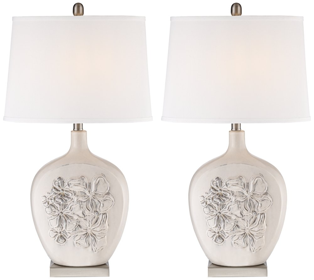 Ewan Ivory Ceramic Table Lamp Set Of 2 Amazon Com