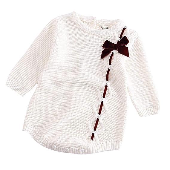 HCFKJ Ropa Bebe NiñA Invierno NiñO Manga Larga Camisetas Beb Conjuntos Moda Bebé ReciéN Nacido NiñA Arco De Punto Mameluco De Ropa De Ganchillo Mono T: ...