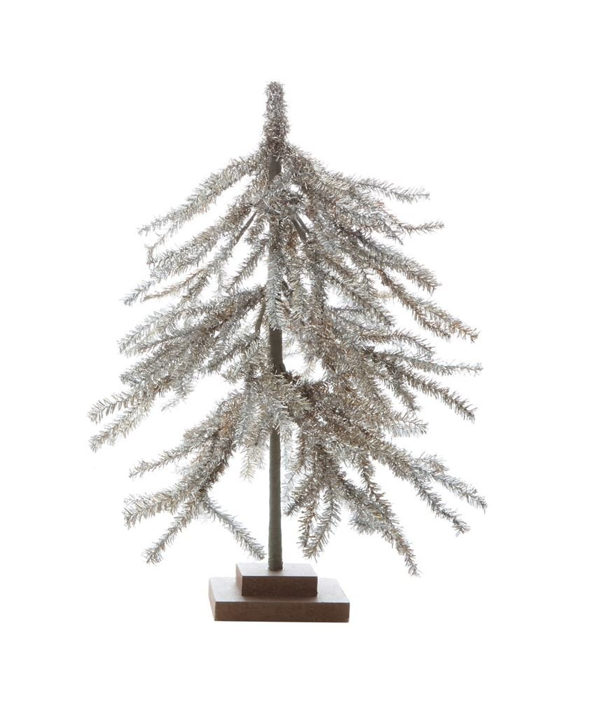 Heart of America Artificial Pine Tree With Wood Base Silver Glitter - 3 Pieces
