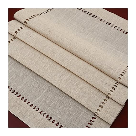 Grelucgo Handmade Hemstitched Natural Rectangle Lace Table Runners (14x48 inch) - Hand hemstitched natural color 50% linen, 50% polyester Machine washable - table-runners, kitchen-dining-room-table-linens, kitchen-dining-room - 61p3yYCKdML. SS570  -