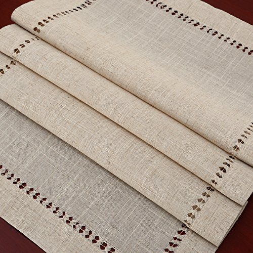Handmade Hemstitched Natural Rectangle Lace Table Runners (14x48 inch) by GRELUCGO (Image #2)
