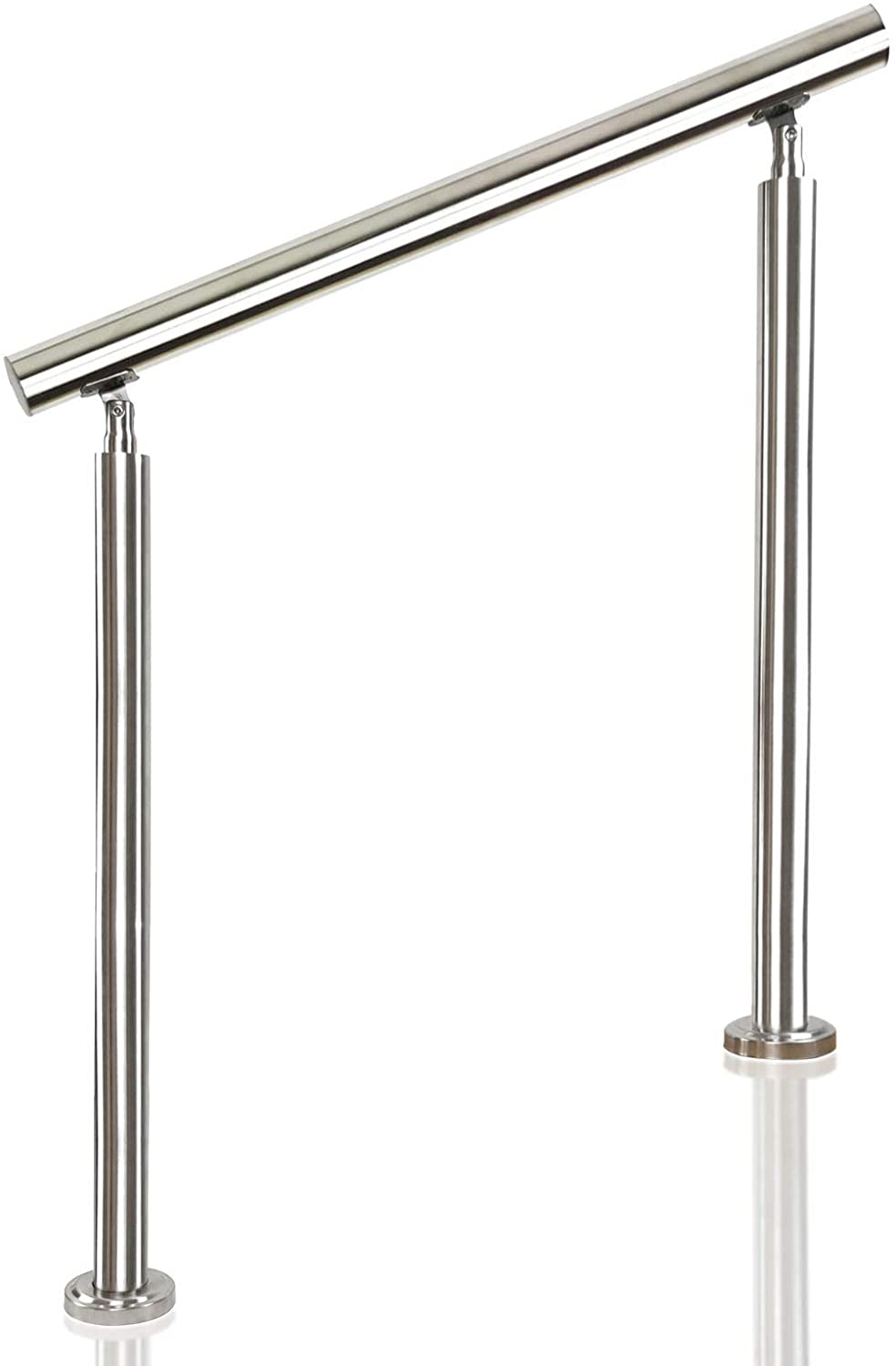 Hanone 304 Stainless Steel Handrail for Deck Stairs Indoor Outdoor Metal Balustrade Hand Railing, Round Pipe Tube Brushed Rail Bars Adjustable Angle Fits 1 to 3 Steps - Complete Kit (Silver) 2.62ft