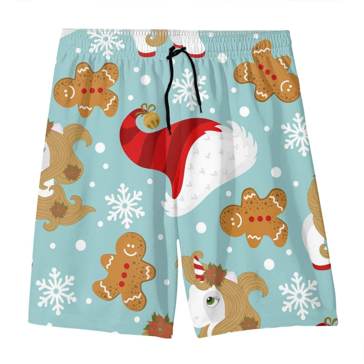 Mens Swim Trunks Christmas Unicorn Printed Beach Board Shorts with Pockets Cool Novelty Bathing Suits for Teen Boys