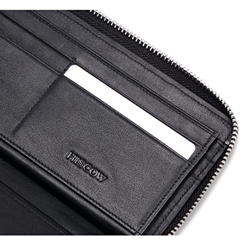 Credit Italian Slots with Travel Wallet 16 Classy HISCOW Card Zipper Calfskin HYqFCnPw