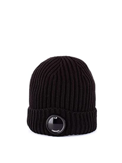9a371013b C.P. Company Mens Goggle Lense Beanie, Black Ribbed Hat O/S Black ...