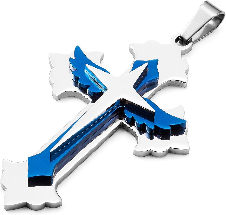 puissant pour homme en acier inoxydable Croix Collier Pendentif cha/îne de 53 cm Bleu et argent
