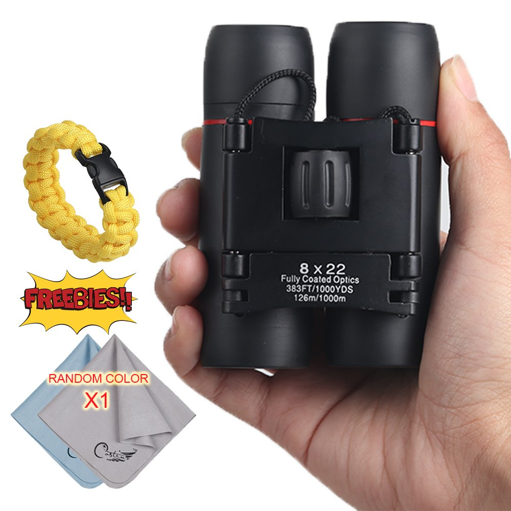 COSTIN Mini Pocket Binoculars, 8x22 Small Optics Zoom Binoculars, Compact & Lightweight Folding Binoculars Vision with Low Light Night for Adults Kids, for Outdoor Birding, Travelling, Hunting