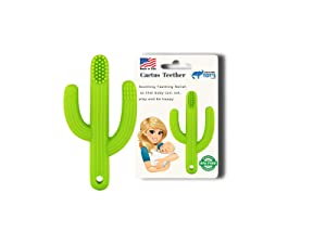 Just4Tots by MAD - Cactus Baby Teething Toy Toothbrush - 2-in-1 Baby Teether Toy - Gum Soother and Massager for Natural Teething Relief - Made of Soft, BPA-Free Food Grade Silicone - Green