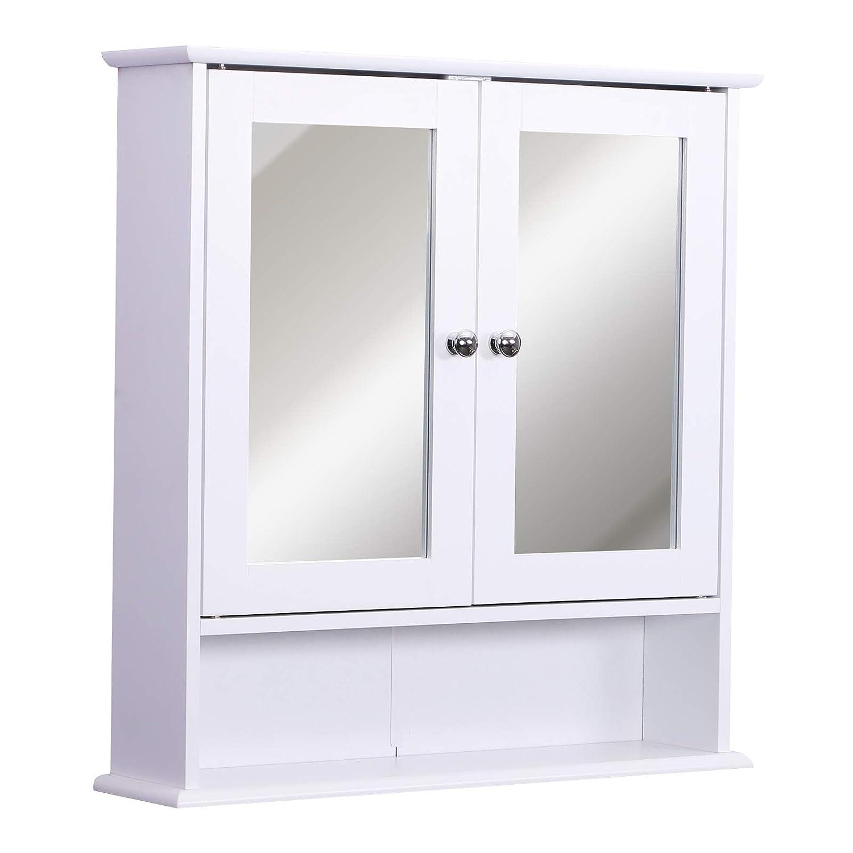 homcom Mobiletto Pensile da Bagno con Specchiera Anta Centrale e Mensole in Legno Bianco 60 x 17 x 58 cm