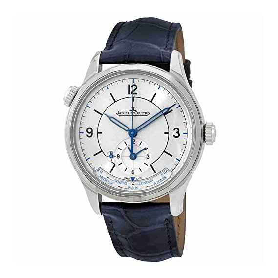 Jaeger LeCoultre Maestro Geográfica Plata Dial Automático Mens Reloj con piel de lagarto q1428530