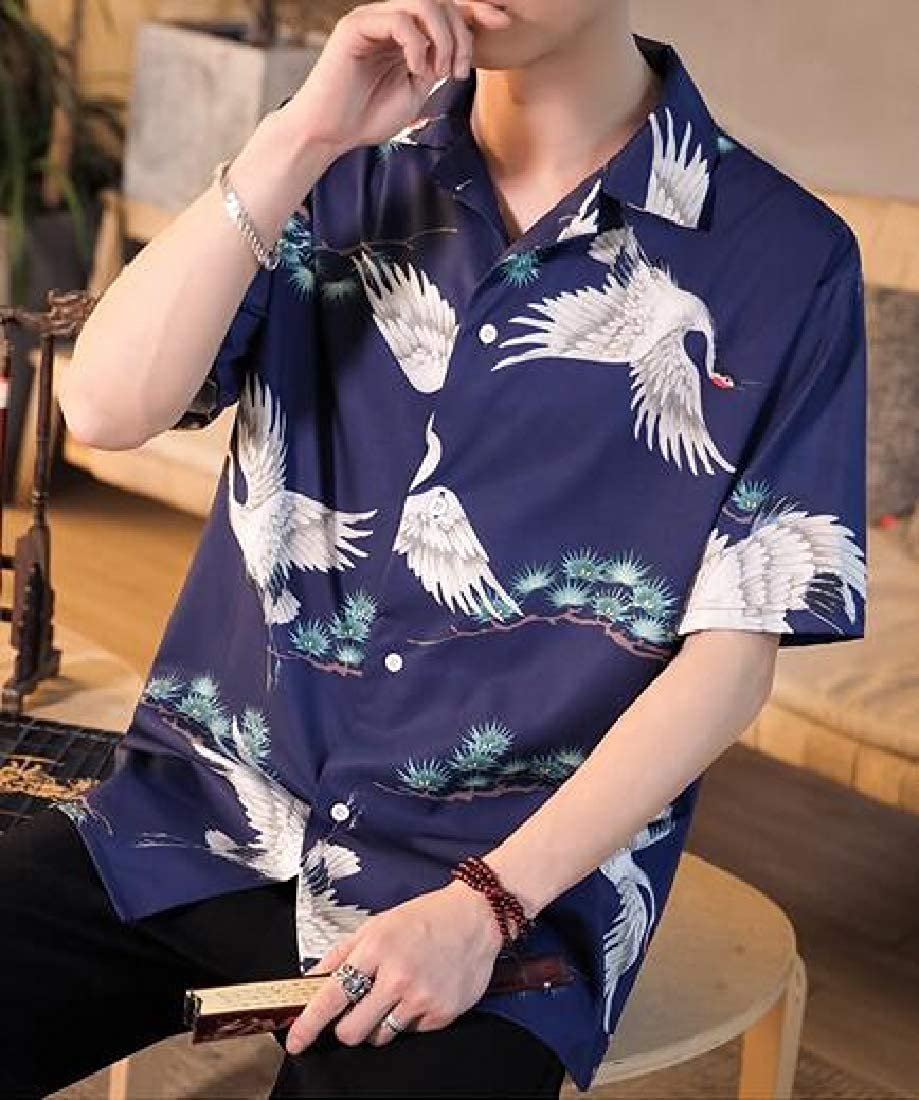 Fubotevic Men Button Down Short Sleeve Loose Fit Summer Ethnic Print Plus Size Beach Shirt