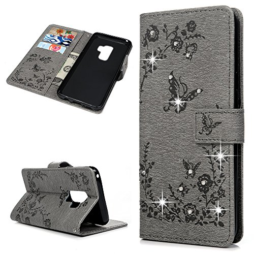 Embossed Strap - Galaxy S9 Plus Case, Kickstand PU Leather Wallet Shiny Bling Diamond Floral Butterfly Embossed Magnetic Flip Wrist Strap TPU Inner Skin Cover for Samsung Galaxy S9 Plus by Mollycoocle, Gray