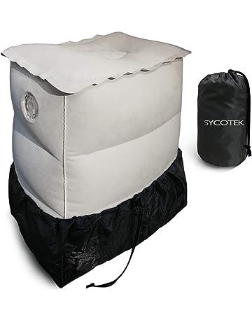 SYCOTEK Reposapiés Inflable Portable 2 Boquillas Grandes Ocultas 3 Altura Ajustable sin Deflación, Almohada para
