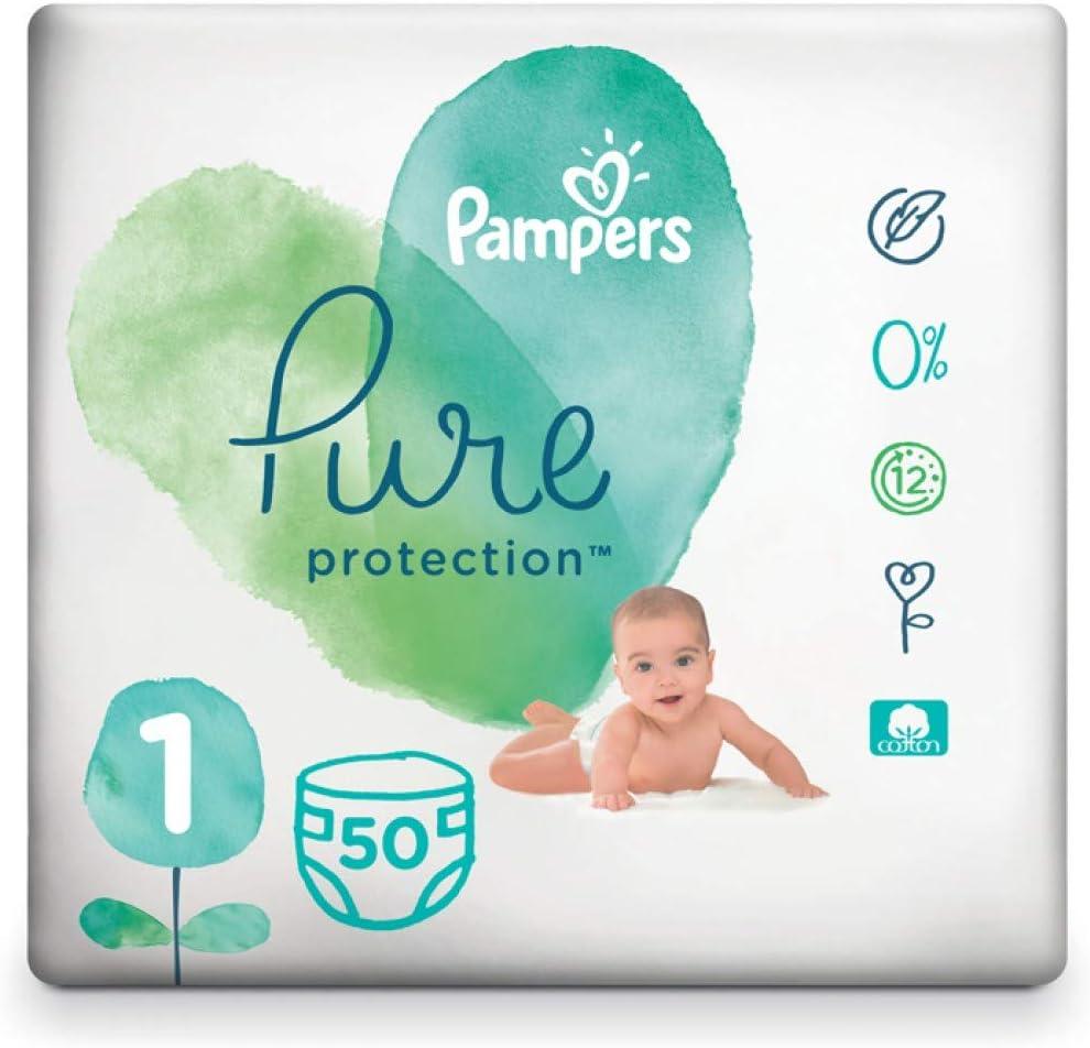 Ni/ño//ni/ña, Tape diaper, 2 kg, 5 kg, Multicolor, Algod/ón s Pampers Pure Protection 81685102 pa/ñal desechable Ni/ño//ni/ña 1 50 pieza - Pa/ñales desechables