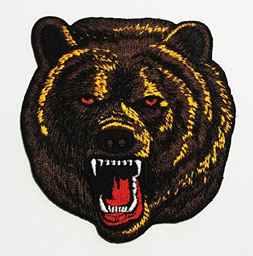 BEAR Angry Grizzly Embroidered Sew Iron on Patch ()