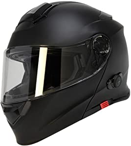 TORC Unisex-Adult Full-face Style T28B Bluetooth Integrated Motorcycle Helmet With Graphic (Matte Black, SMALL)