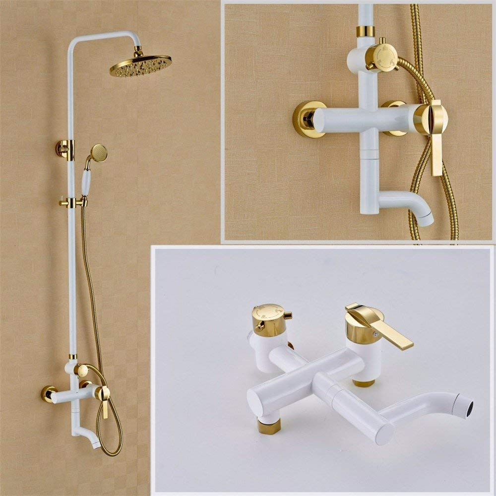 A Shower of gold with a White Best Paint Glass at The Foot of The Wall & a Shower Mixer with Hand Shower