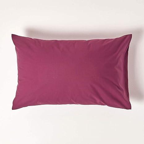 Homescapes Funda de almohada Estandar estilo-Housewife-50 x 75 cm de color Burdeo en 100% algodon egipcio densidad de 60 hilos/cm²