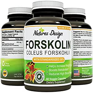 Natures Design Pure Forskolin Extract - Fat Burning & Metabolism Boosting Weight Loss Supplement - Natural Pills for Women & Men (60 Capsules)