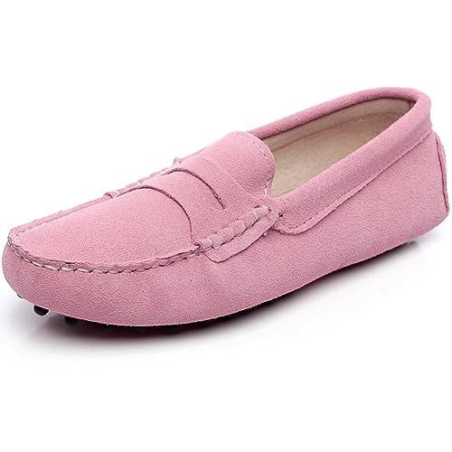 rismart Mujeres Ante Cuero Moda Mocasines Ponerse Casual Pisos Zapatos: Amazon.es: Zapatos y complementos