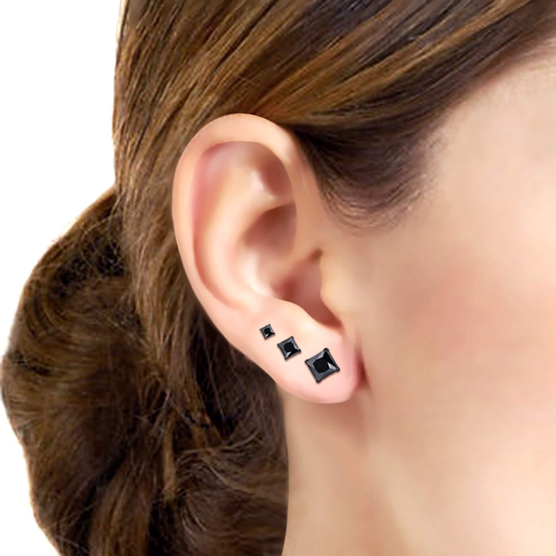 Flongo 12Pairs Womens Vintage Stainless Steel /& CZ Birthstone Square Ear Piercing Stud Earrings 3-5mm for Teens Girls Women Wedding Valentine Birthday Stud Piercing Earrings
