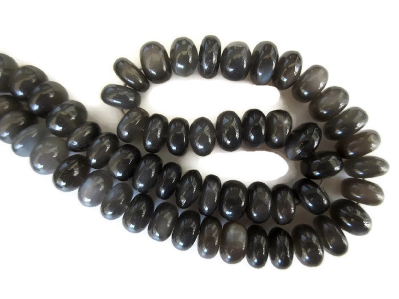 Natural AAA Grey Moonstone Smooth Rondelle Beads, 13mm To 14mm Beads, Grey Moonstone Jewelry, GDS999 (7 Inch)
