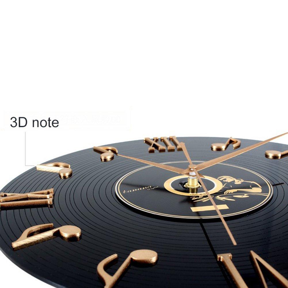 SunBeter 3D Notas musicales y números romanos Registro de vinilo Reloj de pared Diseño de interiores Decoración para el hogar Regalos perfectos para ...