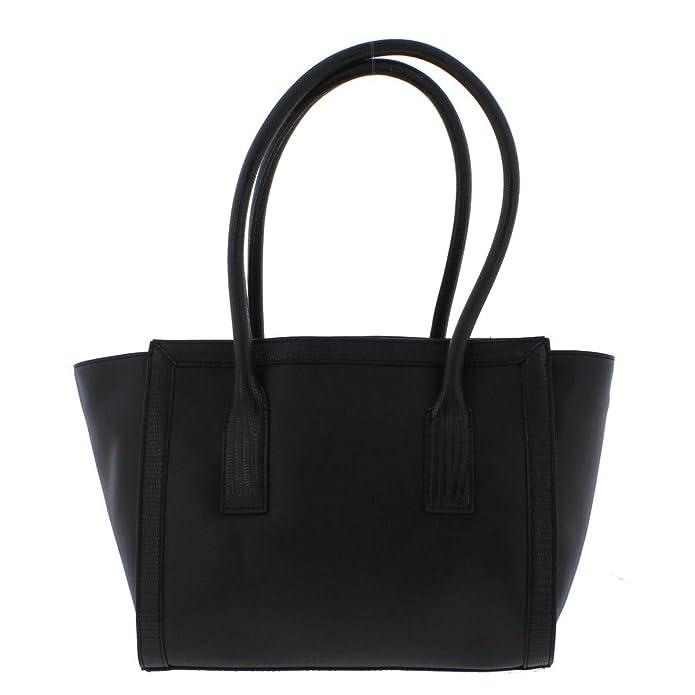 Amazon.com: Jones New York Womens Blake Faux Leather Logo Satchel Handbag Black Large: Shoes