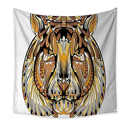 Lion Gorgeous Gifts Mountain (Tattoo Pattern Tapestry Head of Lion with Feather Art on His Mane Native American Design Print Gorgeous Tapestry 70W x 70L InchYellow Brown and White)