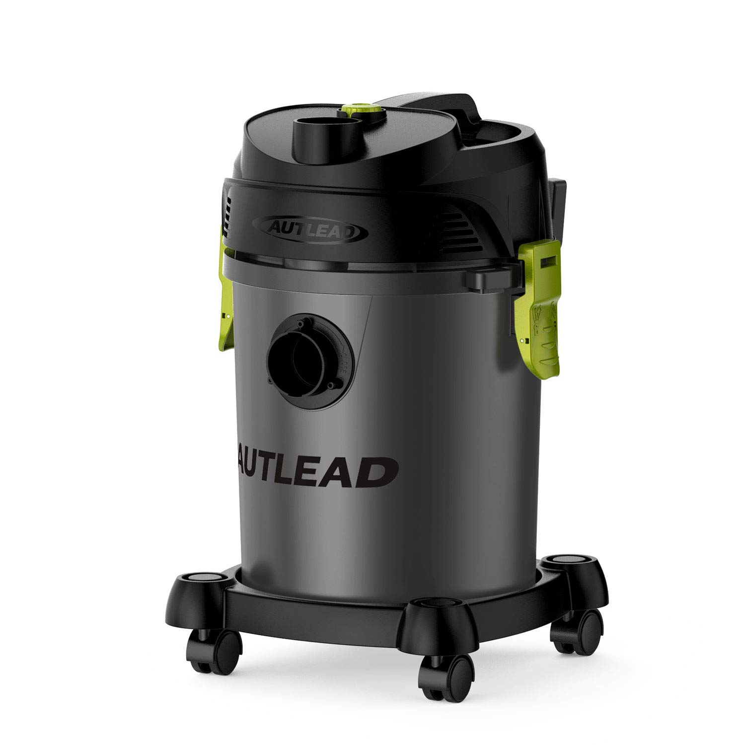AUTLEAD Wet Dry Vacuum WDS02A 5 Gallon Pure Copper Motor 5.5 HP Wet/Dry/Blow 3 in 1 Shop Vac, Stable Round Bucket Design with Pulley System, HEPA Disposable Bag, 3 Brush Included