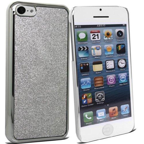Accessory Master 5c slvr glitr desgn Glitter Blumen-Design auf harte Haut-Kasten Abdeckung für Apple iPhone 5C silber