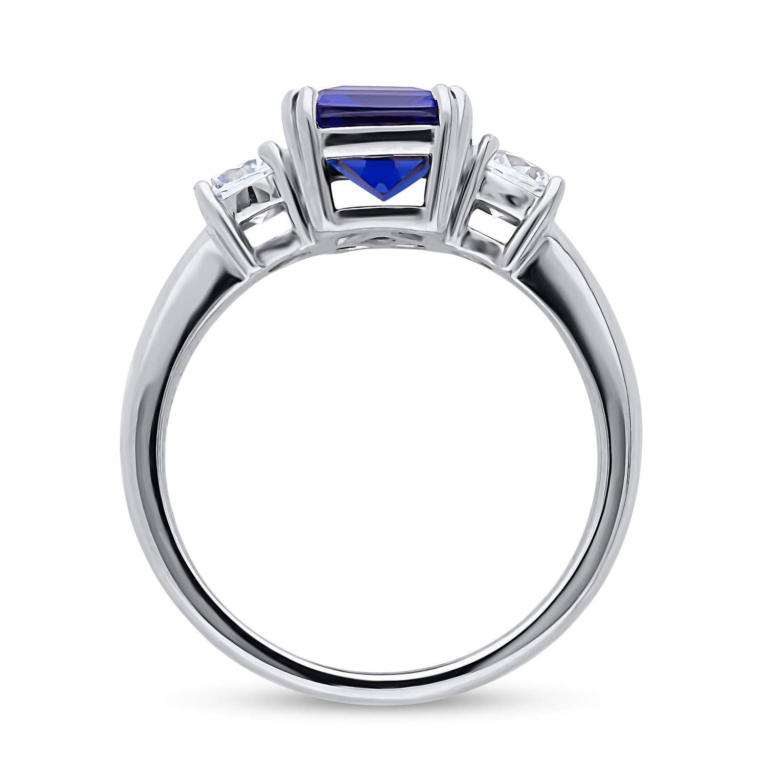 BERRICLE Rhodium Plated Sterling Silver Simulated Blue Sapphire Emerald Cut Cubic Zirconia CZ 3-Stone Anniversary Promise Engagement Ring 3.12 CTW