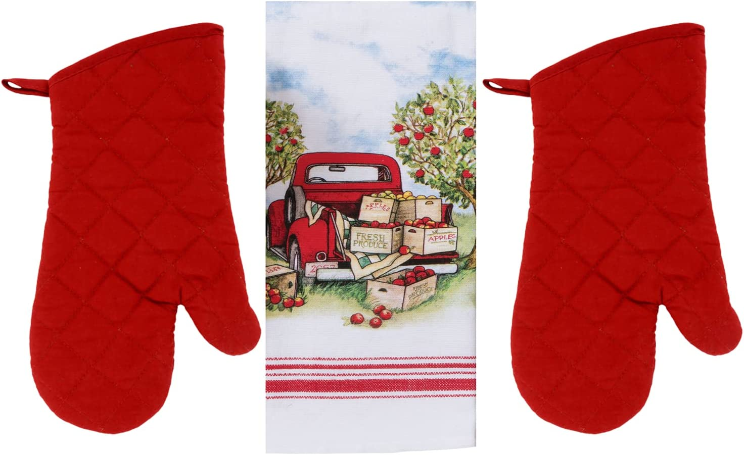 Just4You Vintage Farm Truck and Apples Kitchen Towel Set, Red and White - 1 Apple Picking Dish Towel with Red Farm Truck and Apple Produce Boxes - 2 Red Oven Mitts - Country Rustic Farmhouse Theme