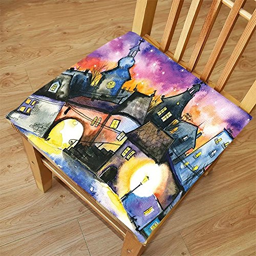 Nalahome Set of 2 Waterproof Cozy Seat Protector Cushion Wanderlust Decor Funky Watercolors Paint Small Town with Weird Angles at Night Light Reflections Mist Image Multi Printing Size - Download At Sunglasses Night