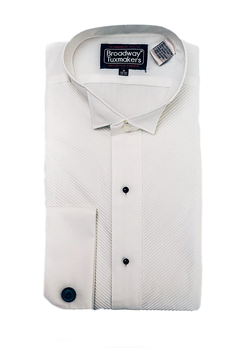 Broadway Tuxmakers New Men's White Wing Tip French Collar Tuxedo Shirt with Studs