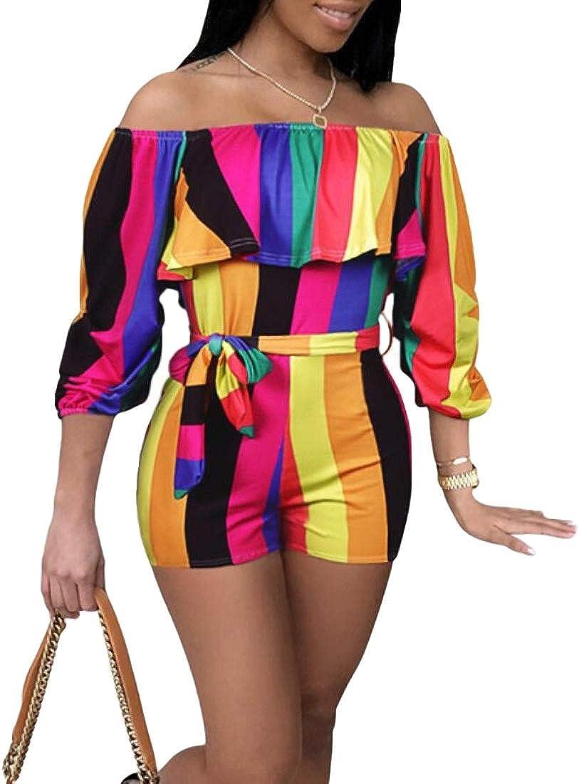 Women Fashion Off Shoulder Summer Strapless Playsuits Short Jumpsuits Floral Rompers