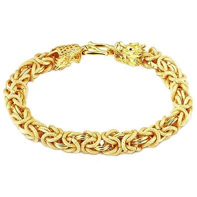 Onefeart Gold Plated Bracelet For Men Boy Double Dragon Design Boss