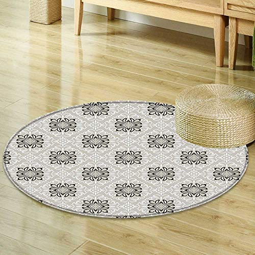Mikihome Round Area Rug Romantic Floral Theme Design Abstract Art Style Elegant Damask Frames Decorative Print Dust and White Indoor/Outdoor Round Area Rug R-35