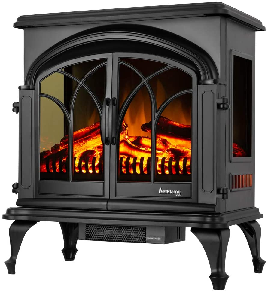 "e-Flame USA 28"" XL Denali Portable Freestanding Electric Fireplace Stove - 3-D Log and Fire Effect (Black)"